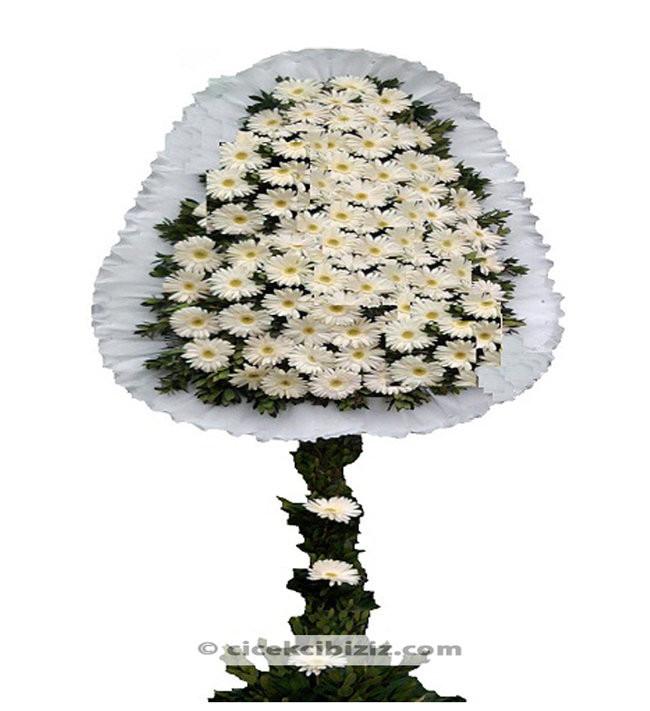 Beyaz Gerbera Ayaklı Sepet