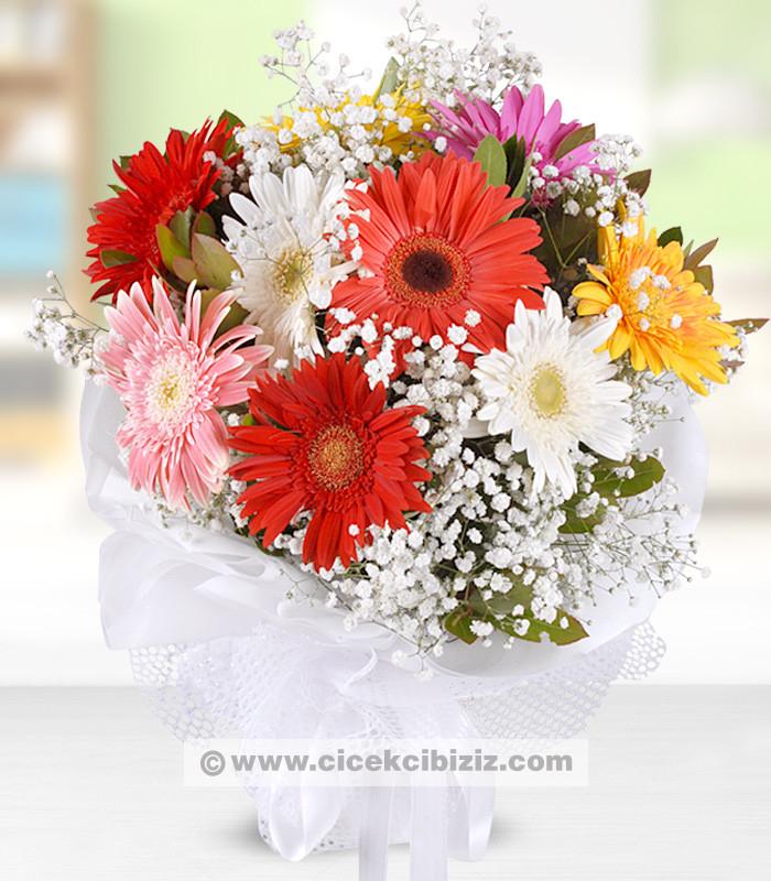 Gökkuşağı Gerbera Çiçeği Buketim