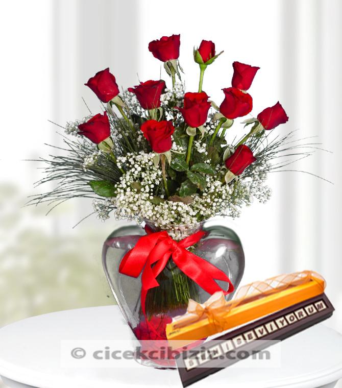 Seni Seviyorum Çikolatalı Kırmızı Gül